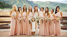 Photographer: Pepper Nix Venue: Stein Eriksen Lodge Flowers: Artisan Bloom Dress designer: Pronovias  Makeup Artist: Alias Professional  Bridesmaids dresses: Joanna August  www.peppernix.com