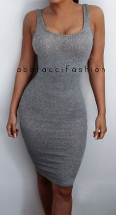 Too sexy? No such thing!!! Gray Tank Top Bodycon Dress Stretchy Knee by AbbracciFashion.