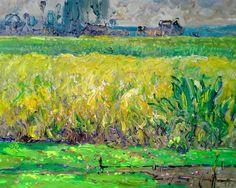 "Saatchi Art Artist: Art Trouve Inc; Oil 2012 Painting ""Paddy Fields"""