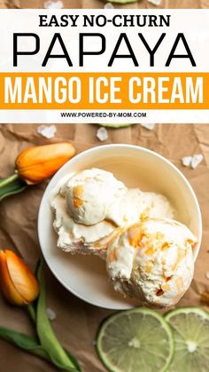 This no-churn Papaya Mango Ice Cream is the ideal tropical sweet treat for hot summer days! Make this easy homemade ice cream with no machine needed! The hardest part is waiting for it to freeze! Easy Homemade Ice Cream, Delicious Desserts, Dessert Recipes, Chocolate Dipped Fruit, Mango Ice Cream, Soup And Sandwich, Homemade Cakes, Popsicles, Freeze