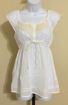Grane Women's White Peasant Blouse Size M NWT #Grane #Blouse #Casual