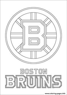 print boston bruins logo nhl hockey sport coloring pages