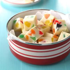Gumdrop Fudge Recipe -Making candy is one of my favorite things to do during the holidays. This sweet white fudge is as easy to put together as it is beautiful to serve. —Jennifer Short, Omaha, Nebraska