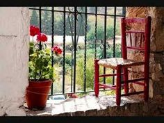 Geraniums and little red chair in the window. Greek Music, Outdoor Chairs, Outdoor Decor, Greek Art, Free Photography, Window Sill, Best Songs, Little Red, Classical Music