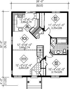 Cottage Style House Plan - 2 Beds 1.00 Baths 896 Sq/Ft Plan #25-141 Floor Plan - Main Floor Plan