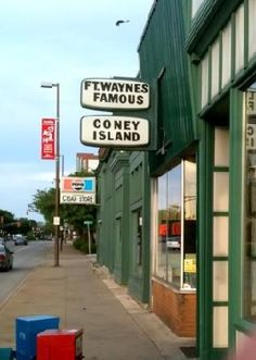 Fort Wayne's Famous Coney Island from the corner of Harrison and Main