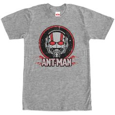 Antman Distressed - Prepare yourself for Scott Langs greatest adventure yet with the Marvel Distressed Ant-Man Logo Heather Gray T-Shirt! A distressed black and red print on the front of this durable gray shirt offers comic book and movie lovers the chance to show off t