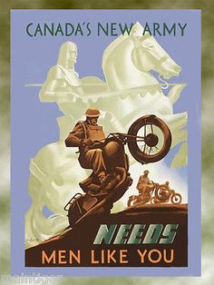 16x20 Canvas Vintage Motorcycle Poster -Canadas New Army Needs men Like You blue