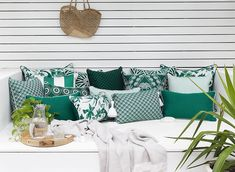 Cushions in deep emerald tones with a mix of patterns and textures adds some real personality to a space. 😍😌😌❤ Wouldn't you want to just grab a book and coffee and spend a few hours here? Outdoor Lounge Cushions, Patio Cushions, Outdoor Sofa, Outdoor Furniture Sets, Outdoor Doors, Striped Cushions, White Backdrop, Indoor, Design