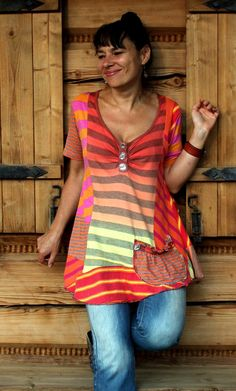 Multicolored dress blouse tunic with diamonds by jamfashion, $79.00