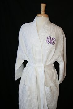 PERSONALIZED Waffle Weave Spa or Bath Robe on Etsy, $29.00