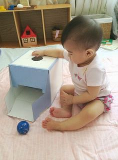 A picture of a child playing with a object permanence box. Object permanence is the term Piaget used to explain babies understanding that objects exists independently. Before their first year babies experience this object permanence and believe that once an object is out of sight it is out of mind.