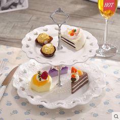 2 or 3 Multilayer Pretty Ceramic Dessert Plate Tower