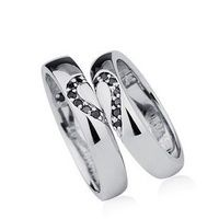 Cubic Zirconia Heart Couples Wedding Rings Set for Two