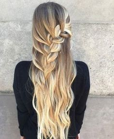 Half Updo With A Chunky Waterfall Braid #waterfallbraid