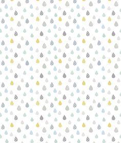 Papier peint enfant gouttes de pluies turquoise