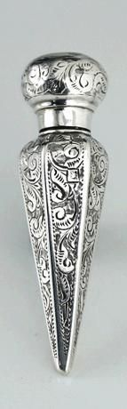 "Unusual Antique Bright Cut Sterling Silver Scent Perfume Bottle, Hallmarked For Birmingham, Maker's Mark ""B&Co.""    c.1894"