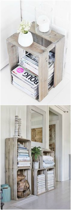 Diy Decoracion Habitacion Cajas 23 Ideas For 2020 Ideas Para Organizar, Pallet Furniture, Furniture Design, Interior Design Living Room, Diy Home Decor, Sweet Home, Bedroom Decor, Wood Crates, Magazines