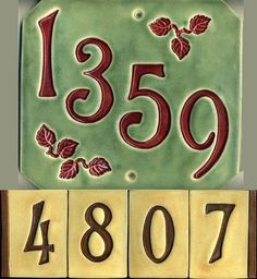 Handcrafted Four Digit Ceramic House Number Tile Craftsman Style