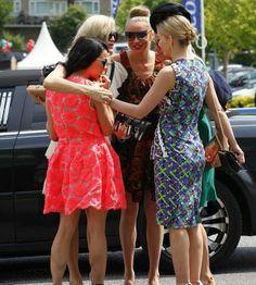 SANDOWN PARK, ENGLAND - 5 JULY 2013: Juliet Angus, Marissa Hermer, Caprice Bourret, Noelle Reno, and Julie Montagu at Sandown Park. Marissa wears Peter Pilotto dress, Chanel bag, Celine sunglasses, and Alexander McQueen shoes.