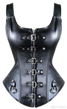 c34d5145dca 2017 Wholesale Women Black Leather Corset Steampunk Corset Waist Training  Cincher Zipper Gothic Corset And Bustier
