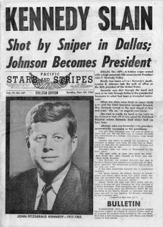 ❖ November 22, 1963 ❖  John Fitzgerald Kennedy, the 35th president of the United States, is assassinated while traveling through Dallas, Texas, in an open-top convertible. Vice President Lyndon Johnson, who was three cars behind President Kennedy in the motorcade, was sworn in as the 36th president of the United States at 2:39 p.m. He took the presidential oath of office aboard Air Force One as it sat on the runway at Dallas Love Field airport.