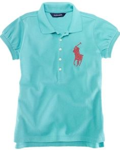 Ralph Lauren Beaded Big Pony Girls Polo Shirt (5 Colors Available)