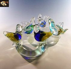 Blowing Murano Glass Animal Birds With Branches