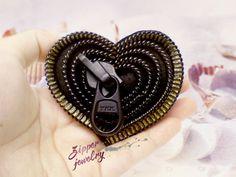 Monotone heart zipper brooch, Valentine's day black zipper design, statement jewelry, Zen style.