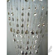 3' x 6' Foot Beaded Curtain Panels - Acrylic Gemstone Beaded Curtains - Iridescent Metallic Silver