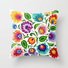Folk Art Grassland Throw Pillow