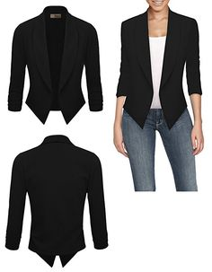 HyBrid Womens Casual Work Office Open Front Cardigan Blazer Jacket Made in USA (Black) - http://our-shopping-store.com/apparel-and-accessories.asp