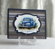 Blue Truck  All Occasion Card  handmade  greeting by catSCRAPPIN, $3.50