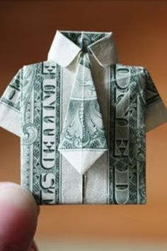Oragami shirt made out of money...did this for Keith's grandma who has everything and she LOVED it; fun to make, easy, and thoughtful