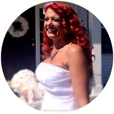 Another beautiful glowing and happy bride on her wedding day thanks to Head Candy Weddings! This bride came in to get ready for wedding day with dimensional bright red color and highlights and then she came back for some beautiful custom colored Hotheads extensions that you can see in a few previous posts!! Now the big day finally arrived and she loved her hair so much she decided she didn't want to wear a veil & opted for just a few white flowers to accentuate the glamorous waves!