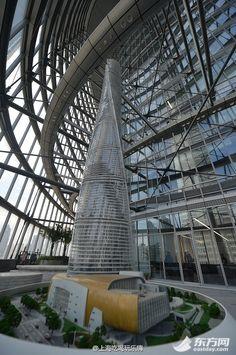 Arquitectura: megatorre «Shanghai Tower» detalles de una obra icónica - MAQUETA EN EL INTERIOR DEL EDIFICIO