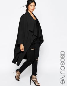 ASOS CURVE Duster Jacket With Waterfall Front. love this in the other color. duck egg, like a greyish mint color. so chic!!!