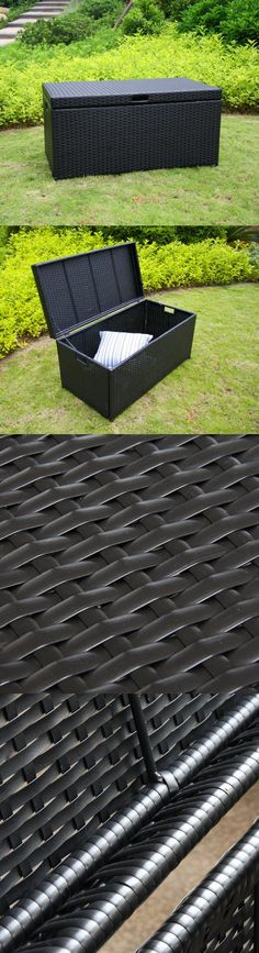 Wicker Lane ORI003-D Outdoor Black Wicker Patio Furniture Storage Deck Box - Bring a natural element into your home with our Resin Wicker Storage Trunk. This stylish deck box is perfect for any room. Use it indoors to store extra blankets, pillows or towels in a guest room bat... - Patio Furniture Sets - Outdoor Living$139.99 Wicker Storage Trunk, Furniture Storage, Deck Box, Wicker Patio Furniture, Outdoor Living, Outdoor Decor, Vaulting, Popular Pins, Outdoor Storage