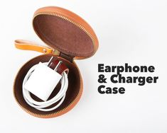 Headphone Holder, Cord Holder, Earphone Case, Leather Skin, Leather Cord, Real Leather, Cord Organization, Organizing, Cable Tie