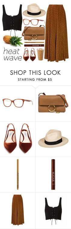 """""""Small Island"""" by smartbuyglasses ❤ liked on Polyvore featuring Ray-Ban, Chloé, Prada, Roxy, NYX, Diane Von Furstenberg and brown"""