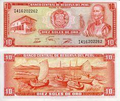 """10 Soles de Oro Perú 1975 Garcilaso """"Inca"""" De La Vega (writer and historian) on front"""