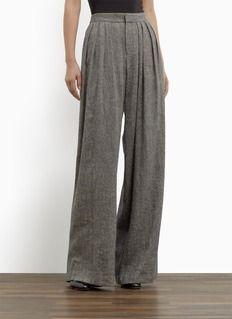Theyskens' TheoryProquo silk-linen pleated wide-leg pants