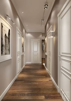 Modern apartment for a young family. – – Flur ideen Modern apartment for a young family. Modern apartment for a young family. Paint Colors For Home, House Colors, Paint Colours, Modern Hallway, Long Hallway, Flur Design, Family Apartment, Riverside Apartment, White Apartment