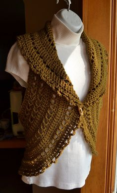 Crochet Circle Vest or Sleeveless Shrug in Vintage Taupe by LazyTcrochet