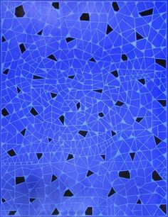 Alfredo Alcain 'Triangulitos azules sobre azul, con negros', 2015. Óleo sobre tela, 116 x 89 cm / Galería Fernández-Braso