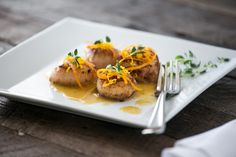 Seared Scallops With Citrus Ginger Sauce With Sea Scallops, Butter, Orange, Lemon, Fresh Ginger, Arrowroot Flour, Sea Salt, Fresh Thyme
