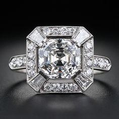 Asscher Cut Diamond Ring - Art Deco always draws me in. Art Deco Ring, Art Deco Jewelry, Jewelry Rings, Vintage Jewelry, Fine Jewelry, Jewelry Crafts, Gold Jewelry, Asscher Cut Diamond Ring, Diamond Art