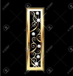 Illustration of I gold letter with swirly ornaments vector art, clipart and stock vectors. Kitty Wallpaper, Love Wallpaper, Gold Letters, Monogram Letters, Happy Birthday In Heaven, Free Printable Banner, Number Art, Writing Styles, Alphabet And Numbers