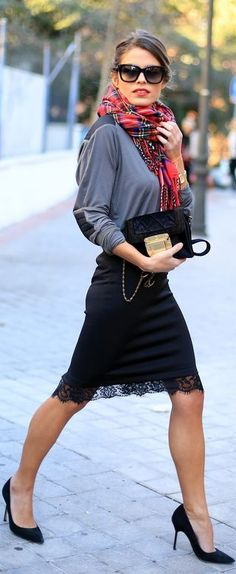 Hate this top with the skirt but love the lace detail in the pencil skirt