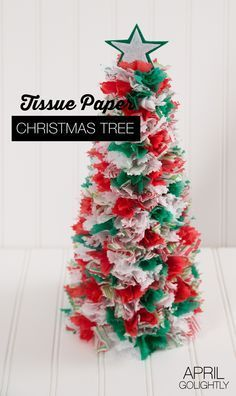 Easy Tissue Paper Christmas Tree Cone Tutorial DIY easy enough for kids crafts and are toddler friendly Christmas Decor